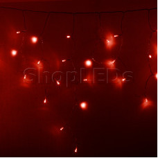 Гирлянда Айсикл (бахрома) светодиодный, 4,8 х 0,6 м, прозрачный провод, 220В, диоды красные, NEON-NIGHT