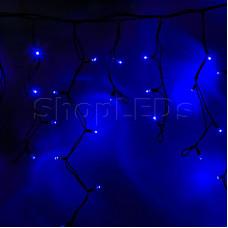 """Гирлянда Айсикл (бахрома) светодиодный, 5,6 х 0,9 м, с эффектом мерцания,черный провод """"КАУЧУК"""", 220В, диоды синие, NEON-NIGHT"""
